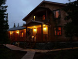 База отдыха Русская Лапландия, вечерний вид на дом