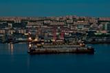 Мурманск, вид на город ночью